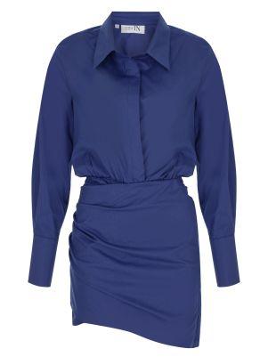 Gömlek Formlu Mini Lacivert Elbise