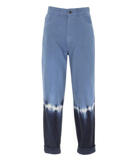 Renk Bloklu Mavi Denim Pantolon