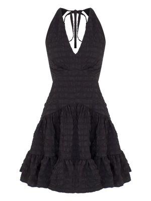 Boyundan Bağlamalı Sırt Dekolteli Siyah Elbise