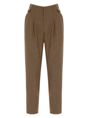 Bej Çizgili Düğme Detaylı Pantolon