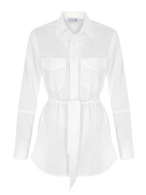 Kemerli Beyaz Gömlek