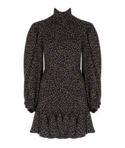 Uzun Kollu Volanlı Siyah Desenli Elbise