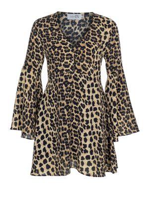 V Yaka İspanyol Kollu Leopar Elbise