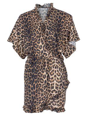 Yarasa Kol Leopar Mini Elbise