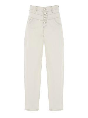 Düğme Detaylı Beyaz Denim Pantolon