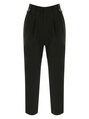 Yüksek Bel Düğme Detaylı Siyah Pantolon