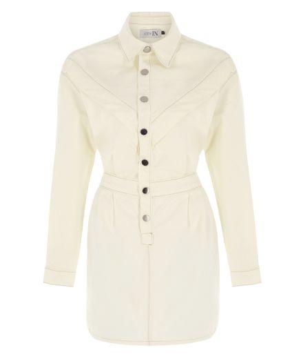 V Detaylı Beyaz Denim Elbise