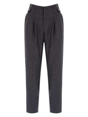 Koyu Gri Çizgili Düğme Detaylı Pantolon