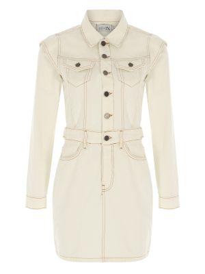Omuz Detaylı Beyaz Denim Elbise