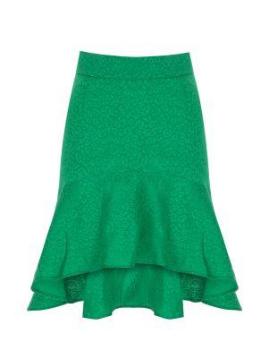 Önü Kısa Arkası Uzun Yeşil Mini Etek
