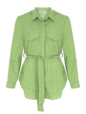 Kemerli Yeşil Gömlek