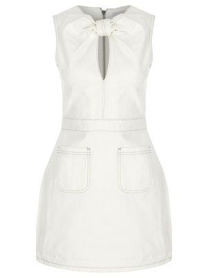 Halka Detaylı Beyaz Denim Elbise