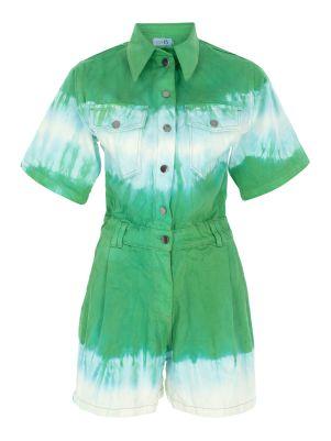Renk Bloklu Yeşil Kısa Denim Tulum