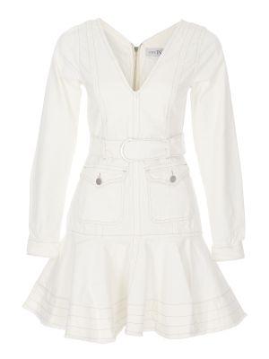 V Yaka Kemerli Beyaz Denim Elbise