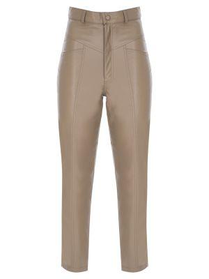 Suni Deri Dikiş Detaylı Bej Pantolon