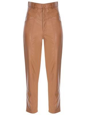 Suni Deri Dikiş Detaylı Turuncu Pantolon