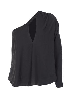 Tek Kollu Göğüs Pencereli Siyah Bluz