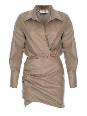 Gömlek Formlu Suni Deri Bej Elbise