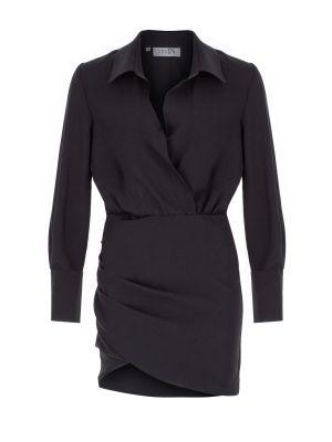 Gömlek Formlu Mini Siyah Elbise