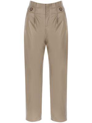 Yüksek Bel Düğme Detaylı Suni Deri Bej Pantolon