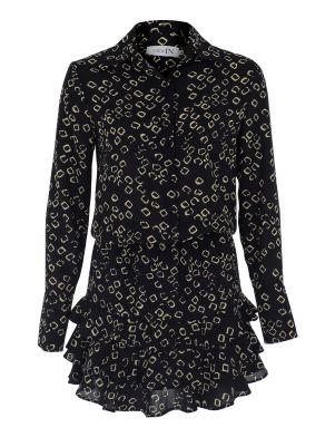 Kat Kat Fırfırlı Siyah Desenli Gömlek Elbise