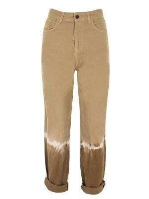 Renk Bloklu Bej Denim Pantolon