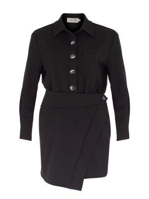 Kendinden Kemerli Siyah Gömlek Elbise