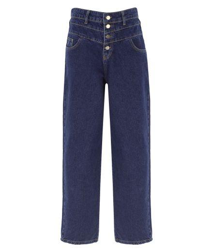 Düğme Detaylı Lacivert Denim Pantolon