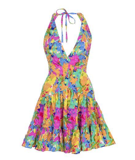 Boyundan Bağlamalı Sırt Dekolteli Elbise