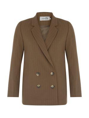 Bej Çizgili Boyfriend Ceket