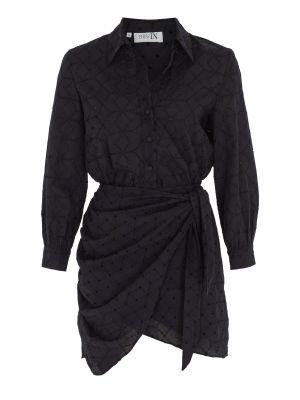 Önden Bağlamalı Siyah Fisto Elbise