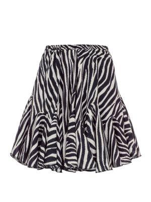 Zebra Desenli Volanlı Mini Etek