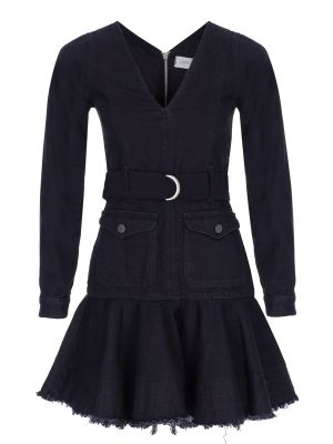 V Yaka Kemerli Siyah Denim Elbise