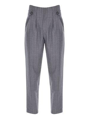 Yüksek Bel Düğme Detaylı Çizgili Pantolon