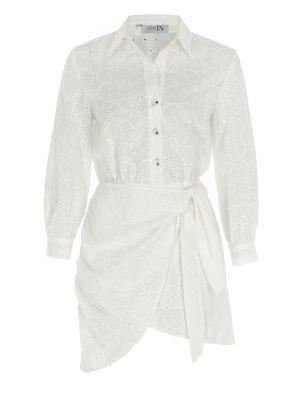 Önden Bağlamalı Beyaz Fisto Elbise