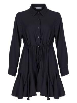 Siyah Volanlı Gömlek Elbise