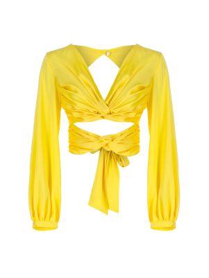 Belden Bağlamalı Sırt Dekolteli Sarı Bluz