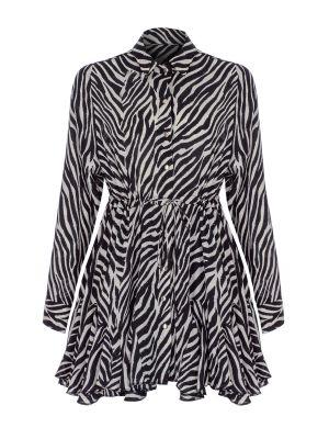 Zebra Desenli Volanlı Gömlek Elbise