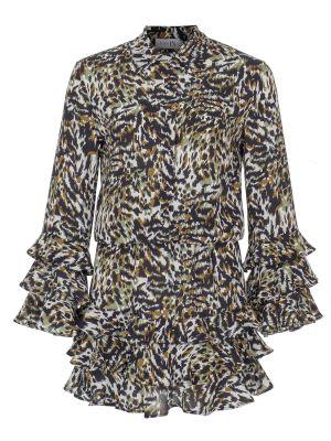 Kat Kat Fırfırlı Desenli Gömlek Elbise