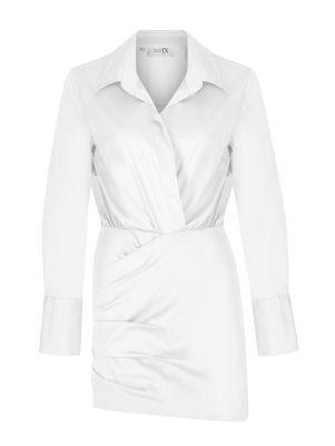 Gömlek Formlu Mini Beyaz Elbise