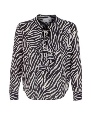 Zebra Desenli V Yaka Bluz