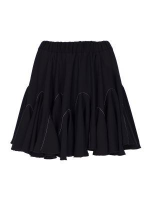 Beyaz Dikişli Volanlı Siyah Mini Etek