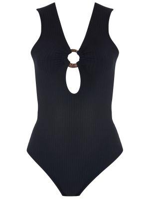 Delik Detaylı Siyah Bodysuit