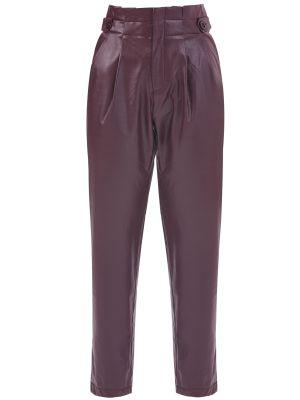 Yüksek Bel Düğme Detaylı Suni Deri Bordo Pantolon