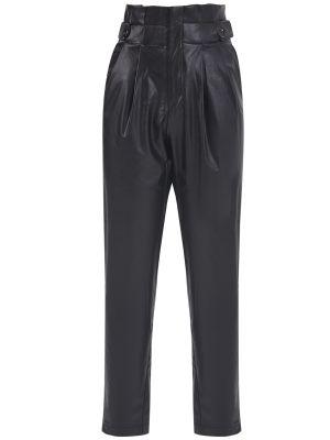 Yüksek Bel Düğme Detaylı Suni Deri Siyah Pantolon